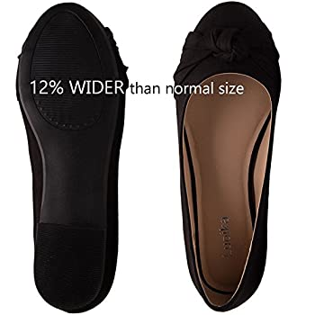 Women's Wide Width Flat Shoes - Comfortable Slip On Round Toe Ballet Flats. (Mc Black 180303,9.5ww) 3