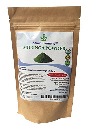Cosmic Element USDA Organic Moringa Oleifera 4 Oz Non GMO multivitamin for metabolism, weight, protein & mood boost - in smoothies & shakes - vegans/Introductory Price ! Clearance !