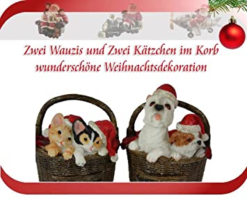 Weihnachtsdeko Hund.2 Hunde Und 2 Katzen Im Körbchen Weihnachtsdeko Amazon De Küche
