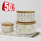 Storage Canister Set Decorative Container Jars, Airtight Bamboo Lids, Gold Plated for Tea, Coffee, Sugar, 3 Piece, BLACK FRIDAY DEALS 2017