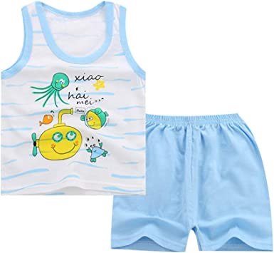 Shorts Tracksuit Sport Suit Clothing Summer Boys Outfits,Cute Baby Boy Girl Kids Sleeveless Cartoon Vest Tank Top