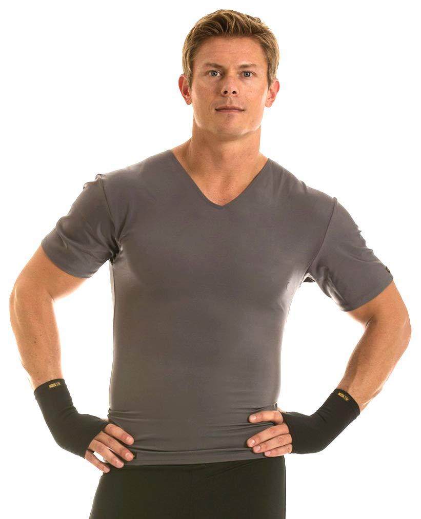 Insta Slim V-Neck Shirt (Grey, S)