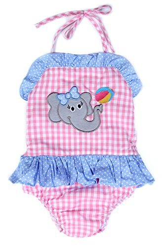 Babeeni Baby One Piece Swimsuit with Elephant Appliqué Patterns for Beach Season, Pink Large Gingham Fabric (12M) - Gingham Girls Swimsuit