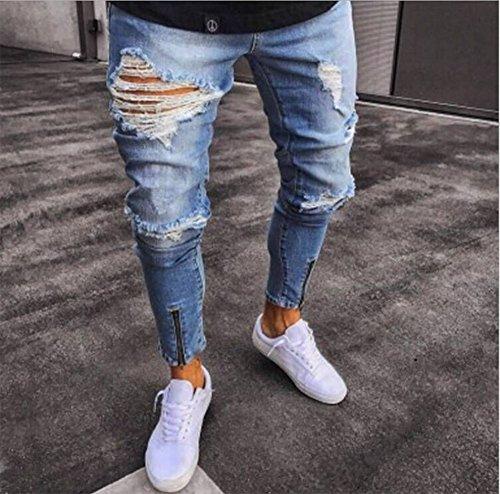 Pantaloni Jeans Slim Libero Fit Moto Adatti Hop Azzurro Maschili Per Streetwear Denim Strappati Vintage Uomo Il Hip Da Tempo 4EIrE