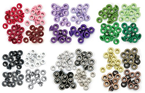 We R Memory Keepers - Standard Eyelets - Red, Purple, Green, Grey, Warm Metal & Cool Metal - 6 item Bundle -