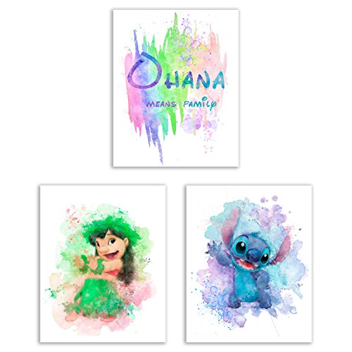 Lilo and Stitch Watercolor Art Prints - Set of 3 (8x10) Photos - Ohana Means Family