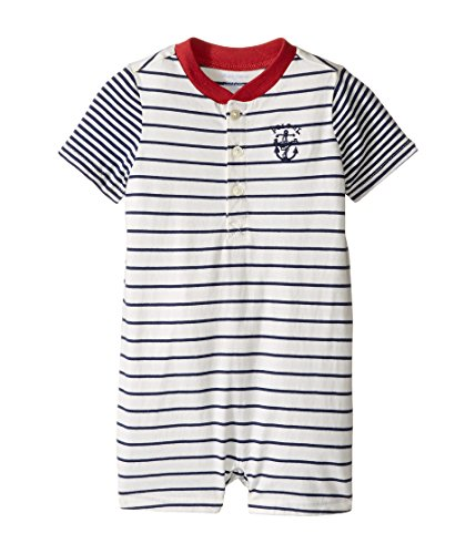 Ralph Lauren Baby Boys' Striped Cotton Jersey Shortall- Fresco Blue/Nevis (18 (Ralph Lauren Striped Romper)