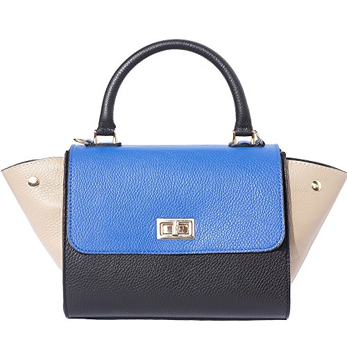 Bowler Leather Bag with Side Flaps ( Small ) 9132 (Black-light blue) (Bowler Small Handbag)