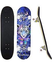 """31 """"x 8"""" Compleet Skateboard voor 7 Layer Maple Deck Dubbele Kick Deck Standaard boards voor Jongens Meisjes Tieners Volwassenen Beginners"""