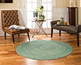 NaturalAreaRugs Barbuda Collection Natural Jute Round Area Rug, Handmade, 100% Jute, Anti-Static, Durable, Stain Resistant, Eco/Environment-Friendly, (6 Feet x 6 Feet) Green Color