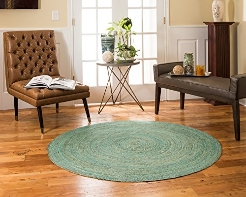 NaturalAreaRugs Barbuda Collection Natural Jute Round Area Rug, Handmade, 100% Jute, Anti-Static, Durable, Stain Resistant, Eco/Environment-Friendly, (6 Feet x 6 Feet) Green Color by NaturalAreaRugs
