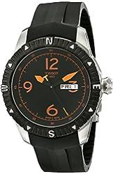 Tissot Men's  'T Navigator' Black/Orange Dial Black Rubber Strap DateDay Automatic Watch T062.430.17.057.01
