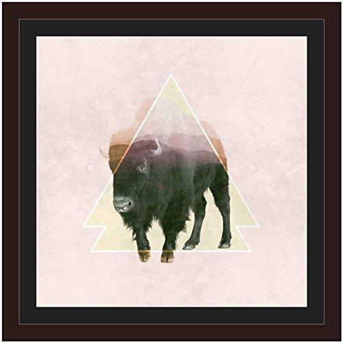 OKSLO Bison Double Exposure Wildlife Art by Eazl Walnut Metallic Image Box ()