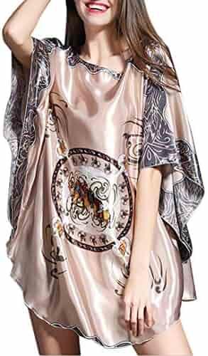 Aensso Women s Gorgeous Dress Satin Pajamas Sexy Sleepwear   Batwing Sleeve  Nightgown ebd625424
