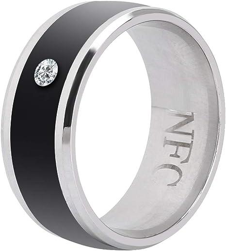 KJGLXD NFC Smart Ring Male Ring Digital Smart Ring Titanium Steel Blue Carbon Fiber Diamond Chip Ring