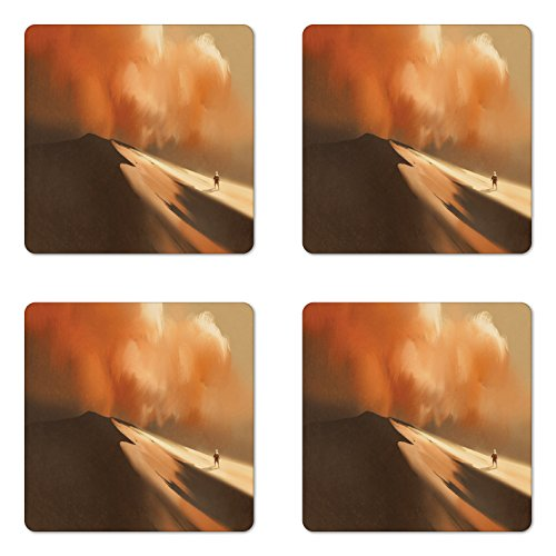 Lunarable Fantasy Coaster Set of 4, Mysterious Shadow Man Walking through Sand Storm in Desert Hiking Wind Hot Image Art, Square Hardboard Gloss Coasters for Drinks, Cream