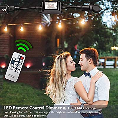 Outdoor Dimmer, Wireless RF Smart Plug-in Outdoor Dimmer Switch, Remote Control Dimming Controller - 200W Max Power/150FT Max Range/IP68 Waterproof/Stepless Dimming for Dimmable LED String Lights