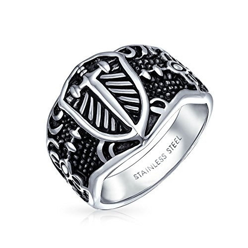 Bling Jewelry Stainless Steel Celtic Medieval Cross and Shield Mens (Medieval Mens Ring)