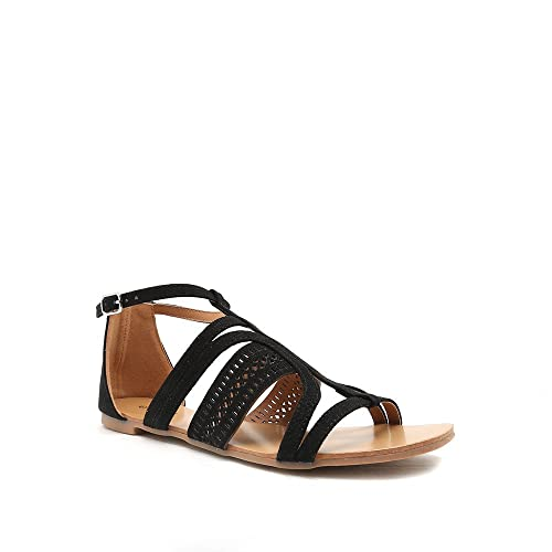 21f12e845e90d Qupid Hazy-31 Women's Strappy Open Toe Cutout Sandal