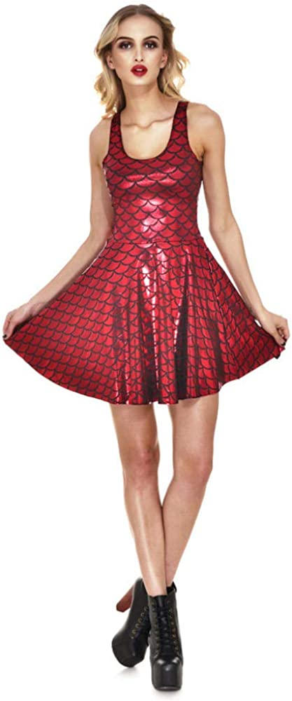 Xcfypiao Womens Dresses,Dress Lady Pleated Vest Short Skirt Sequin Fish Scale Pattern Elegant Digital Printing Round Neck