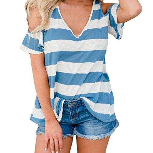 MEEYA Striped Printed Short-Sleeved Top Fashion Womens Short Sleeve Vest Stripe Print Top Tank Blouse -
