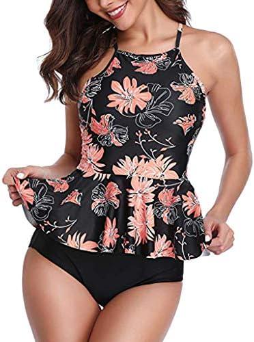 DreamedU Trajes de ba ntilde;o para mujer Traje de ba ntilde;o de dos piezas de talla grande Tankini Bikini con estampado de cintura alta Traje de ba ntilde;o para mujer Bikini con tiras
