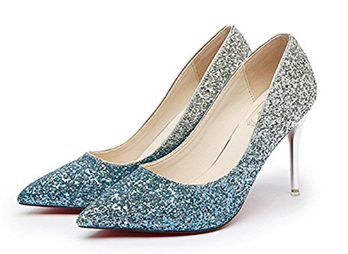 Aisun Brillant Femme Bleu Paillettes Escarpins Multicolore Mariage rrHwf4q