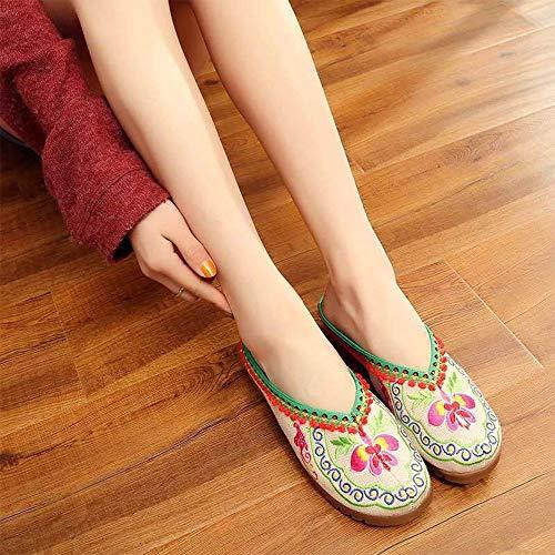 Pékin Vieux Ronde Chaussures Tête Fleur Beige Pantoufles De Plates Bozevon Broderie qXwxA1x