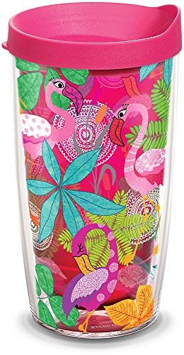 Tervis 1308326 Flamingo Fun Insulated Tumbler with Wrap and Fuschia Lid 16oz Ruby