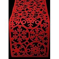 Camino de mesa de fieltro rojo de copo