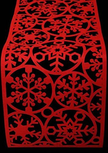 Christmas Red Felt Table Runner Snowflake Decoration Festive Party Dinner Xmas Dining Mat Cloth Cover 120cm x 30cm Concept4u