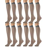 12 Pairs of excell Sheer Trouser Socks for Women, 20 Denier Knee High Dress Socks (French Gray)
