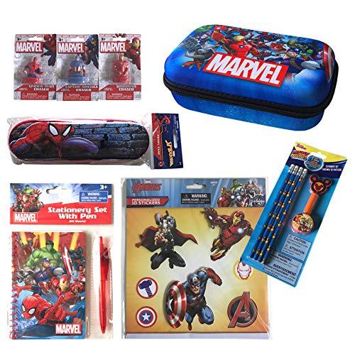GRANSHOP Disney Marvel New Stationery Set for Kids- Note Set, EVA case, Tin Pencil Case, Pencil Set, 3 Erasers, 3D Sticker Best Assorted