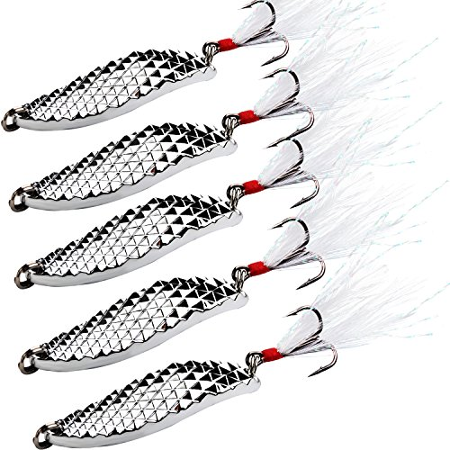 Sougayilang Spoons Hard Fishing Lures Treble Hooks Salmon Bass Metal Fishing Lure Baits Pack of 5pcs (Silver)