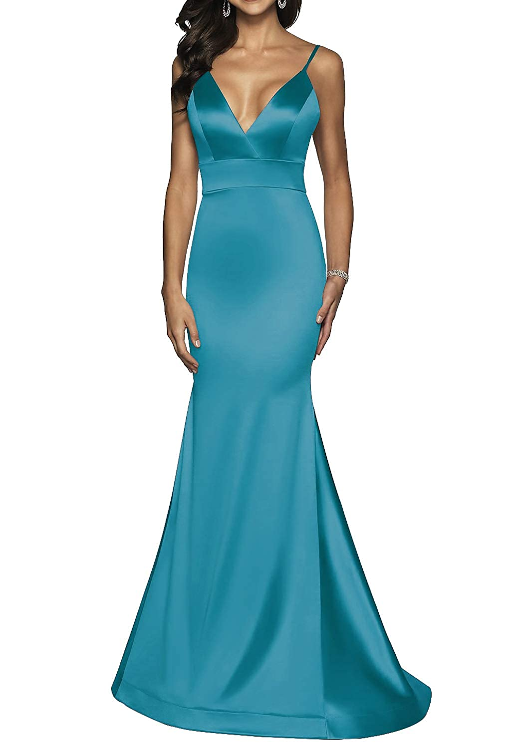 Teal Long VNeck Formal Prom Dress for Women with Trumpet Spaghetti Straps Skirt