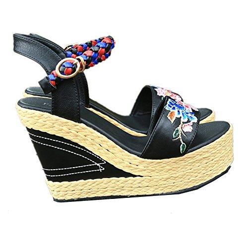 Toe Tacón De Correas Tobillo De Zapatos HN Shoes Plataforma Cuña Peep Cuña Verano Mujer Confort Sandalias Cuero Black Del xOn6np0q