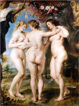 Lienzo 50 x 70 cm: Three Graces de Peter Paul Rubens - Cuadro Terminado, Cuadro sobre Bastidor, lámina terminada sobre Lienzo auténtico, impresión en Lienzo