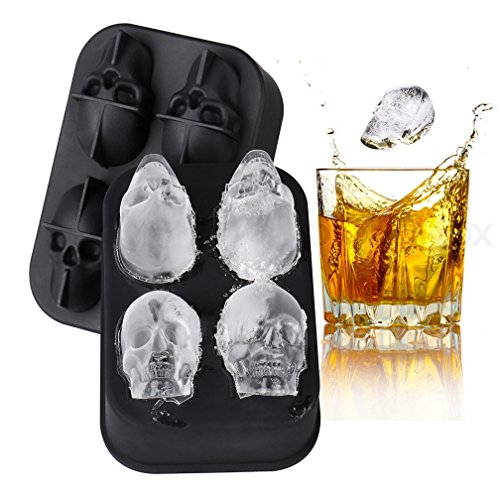 WSHL Skull Shaped Ice Cube Molds, 3D Cool Shape, Flexible Silicone Mold Tray, Easy Release BPA Free