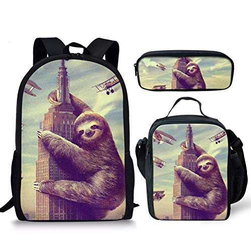 Foruidea Cute Sloth Backpacks Set 3 Pieces Lunch Bag Pen Bag for Kids Back to School Lightweight Daypack for Boys Girls