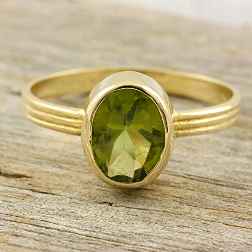 Oval gemstone ring 14k solid gold peridot garnet amethyst birthstone rings classic cocktail solitaire bezel stacking natural red green stones gift for her August January birthstone ()