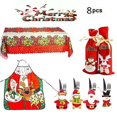 8pcs Christmas wine bottle bags,Silverware Holders Pockets,Christmas Tablecloth and Aprons for women-Christmas Dining Table Decorations Sets