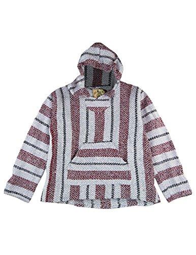 Sunshine Joy Baja Joe Eco-Friendly Woven Striped Pullover Baja Hoodie Burgundy 2X