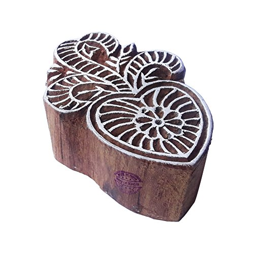 Jaipuri Floral Design Leaf Wood Print Block - DIY Henna Fabric Textile Paper Clay Pottery Block Printing Stamp