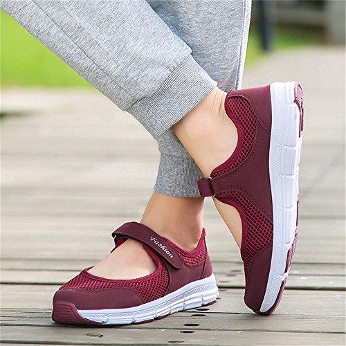 SHELAIDON Mary Jane Velcro Lightweight Trainers Walking Shoes Wine OwVoR