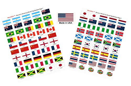 (Made in USA! 100 Stickers Representing The 2019 Women's World Cup Teams with Name; 1.5