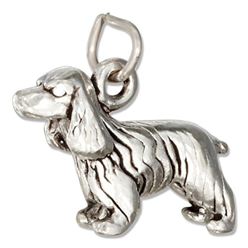 Sterling Silver Three Dimensional Cocker Spaniel Dog (Cocker Spaniel Charm)