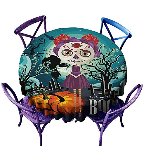 All of better Halloween Tablecloth for Party Cartoon Girl with Sugar Skull Makeup Retro Seasonal Artwork Swirled Trees Boo Multicolor Tablecloth on Round Table D 54