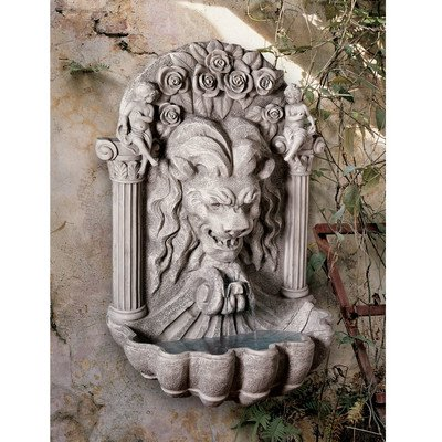 Design Toscano Wall Mounted Water Fountain - 3 Foot Tall House of York Lion Fountain - Outdoor Water Feature Wall Niche