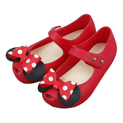 iFANS Girls Sweet Dot Bow Princess Mary Jane Flats For Toddler/Little Kid, Red, Size (Red Dot Flat)