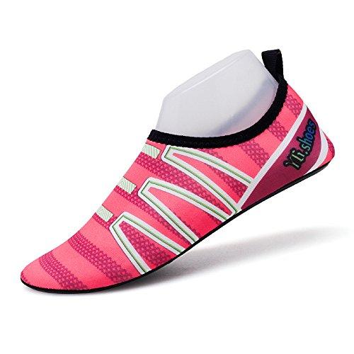 pegada calzado SK15 de natación descalzos playa secado de rápido Zapatos la Lucdespo luz roja rosa piel pies zapatos zapatos y natación amantes 5P8xwn6U
